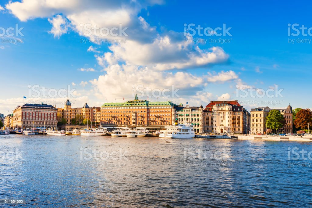 Harbor in Downtown Stockholm Sweden stock photo