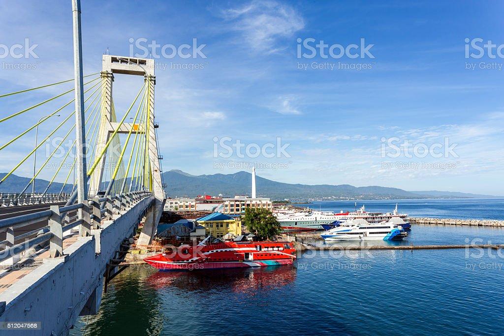 harbor in Kota Manado City, Indonesia stock photo