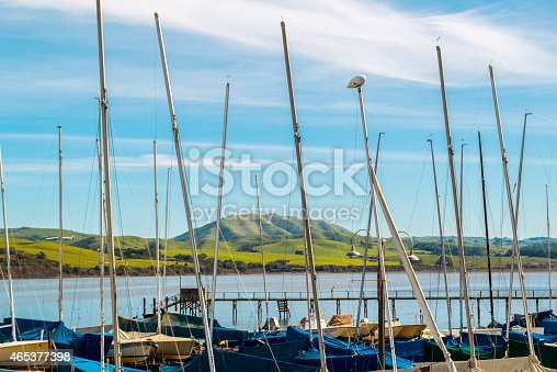 view of small boat harbor/marina in the small town of Inverness in Marin County of Northern California