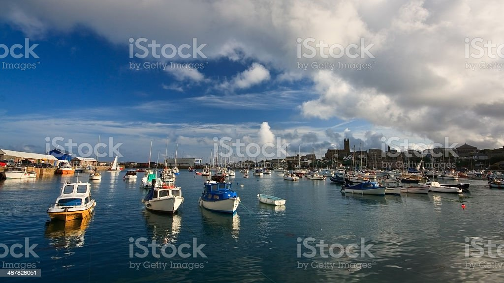 Harbor in Penzance, Cornwall. stock photo
