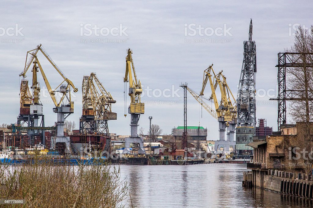 Harbor in St Petersburg stock photo