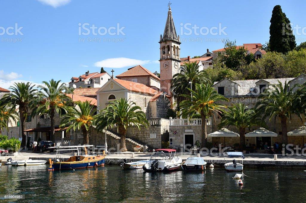 Harbor in the little village Splitska stock photo
