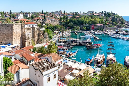 istock harbor in the old town of Antalya , Kaleici 493112504