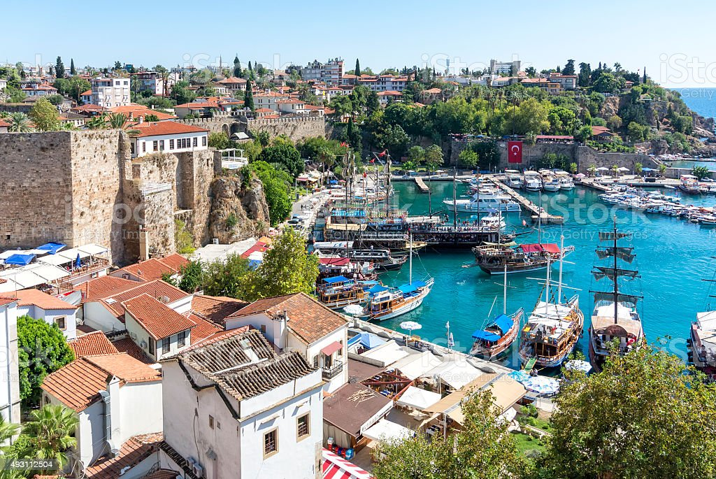harbor in the old town of Antalya , Kaleici stock photo