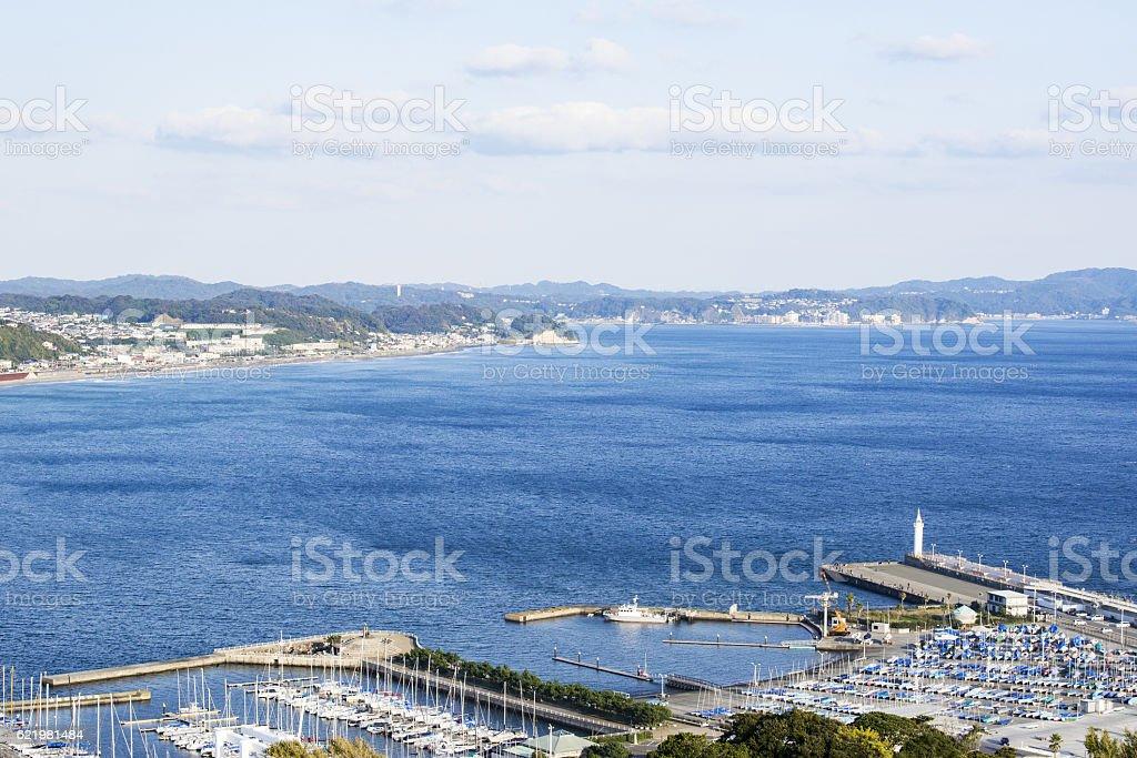 Harbor in the sea of east Enoshima stock photo