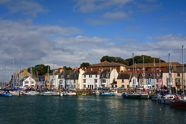 harbor in town of waymouth, uk. - weymouth stock photos and pictures