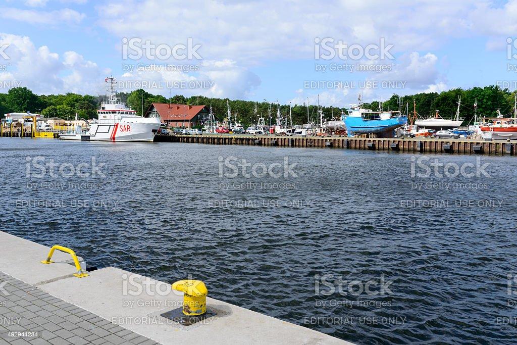 Harbor in Ustka stock photo