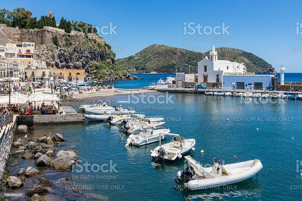 Harbor Lipari at the Aeolian islands of Sicily, Italy stock photo