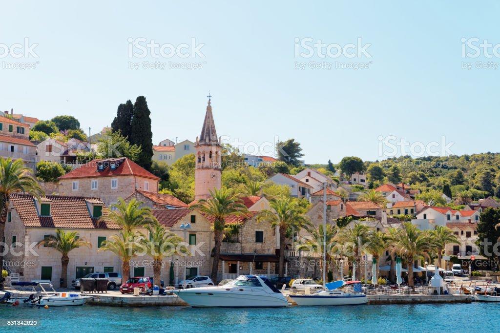 Harbor of a small town Splitska - Croatia, island Brac stock photo