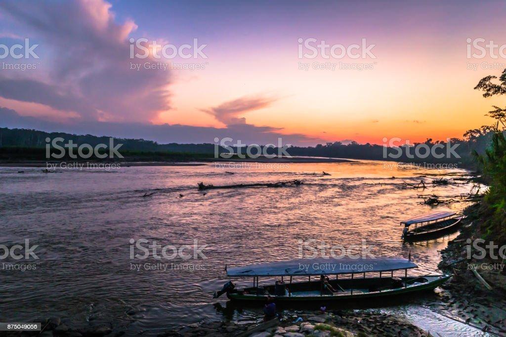 Manu National Park, Peru - August 08, 2017: Harbor of Boca Manu village in the Amazon rainforest of Manu National Park, Peru stock photo