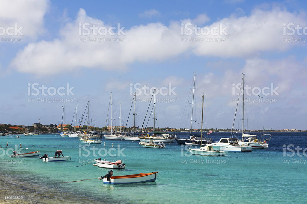 Harbor of Bonaire stock photo