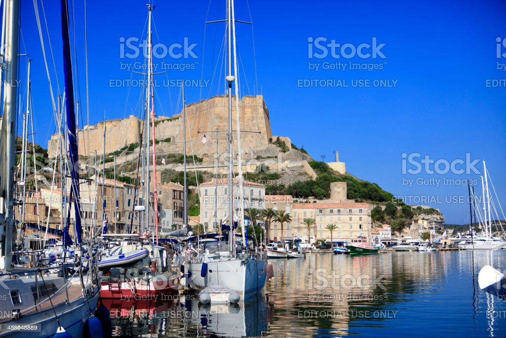 Harbor of Bonifacio, Corsica, France stock photo