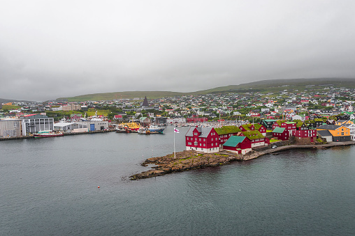 Harbor Of Capital Tãrshavn Of Faroe Islands Summer Time Stock Photo - Download Image Now