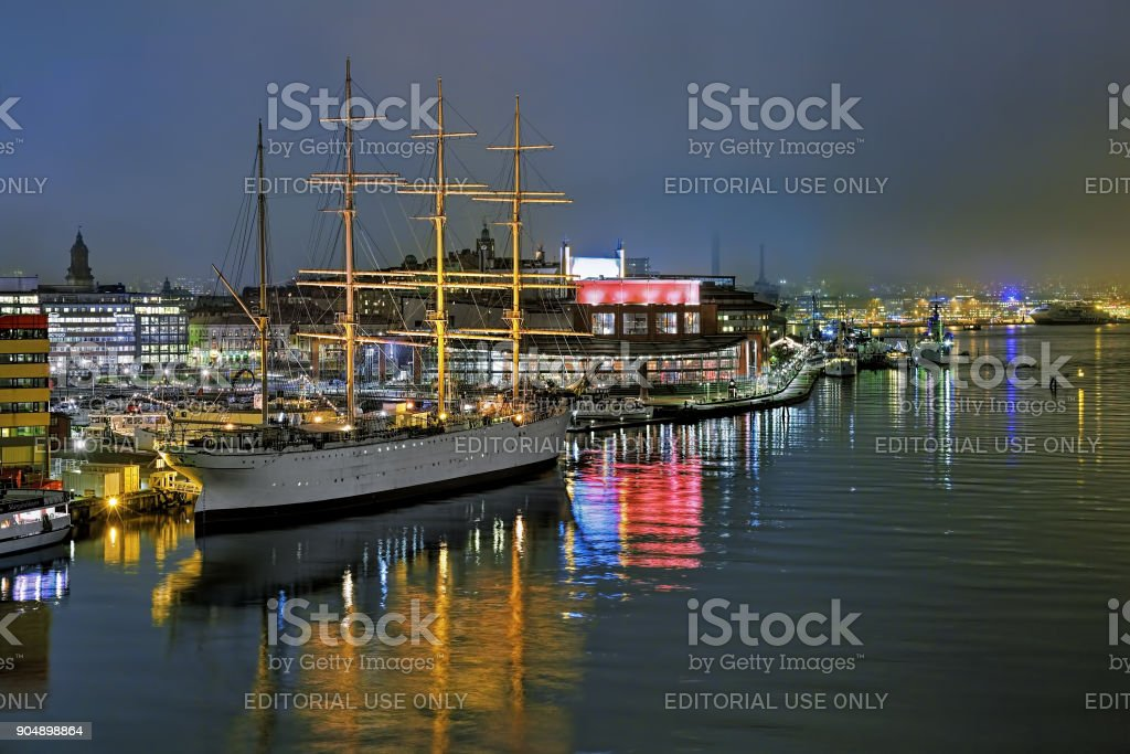 Harbor of Gothenburg with the ship Barken Viking and Opera house in the foggy evening, Sweden stock photo