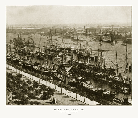 Harbor of Hamburg, Hamburg, Germany, Antique German Photograph, 1893