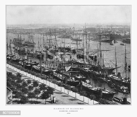Antique German Photograph: Harbor of Hamburg, Hamburg, Germany, 1893. Source: Original edition from my own archives. Copyright has expired on this artwork. Digitally restored.