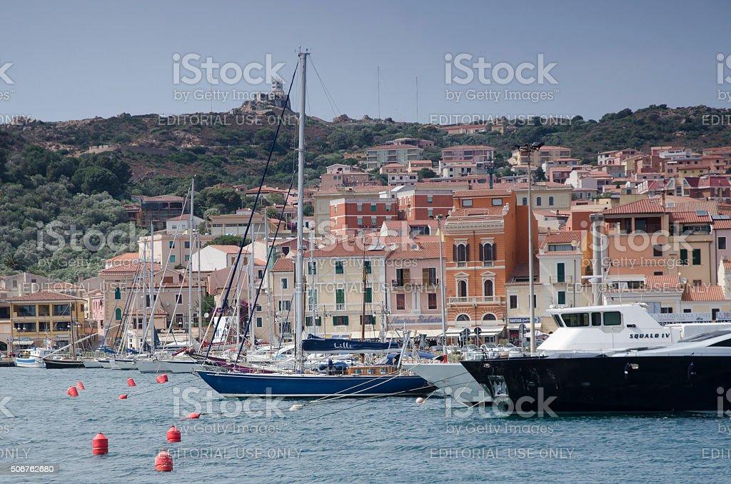 Harbor of Island La Maddalena stock photo