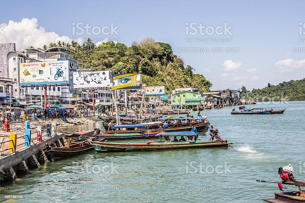 Harbor of Kawthong stock photo