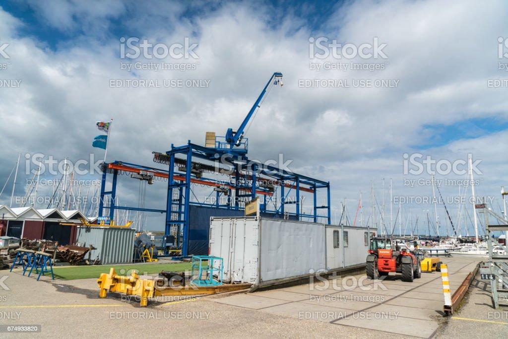 Harbor of Lelystad stock photo