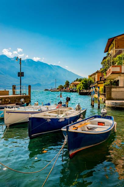 harbor of Limone in Italy stock photo