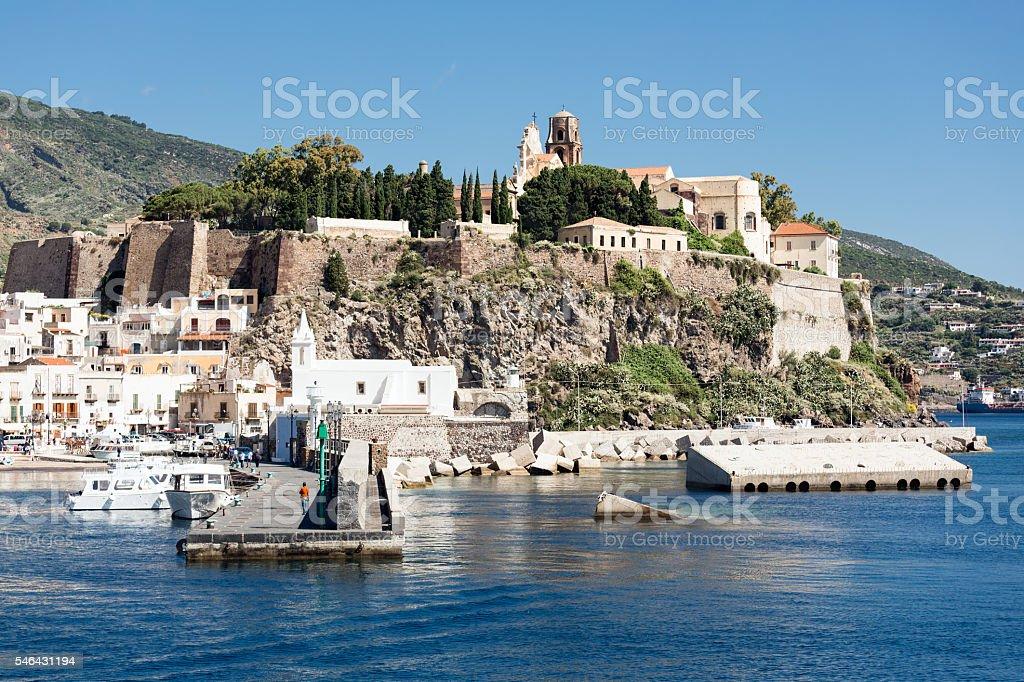 Harbor of Lipari, Aeolian Islands near Sicily, Italy stock photo
