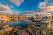 Public Harbor With Recreational Boats And Lighthouse At The City of Oceanside, Calif.