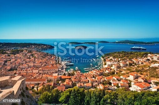 istock Harbor of old Adriatic island town Hvar. High angle panorama. 471406963