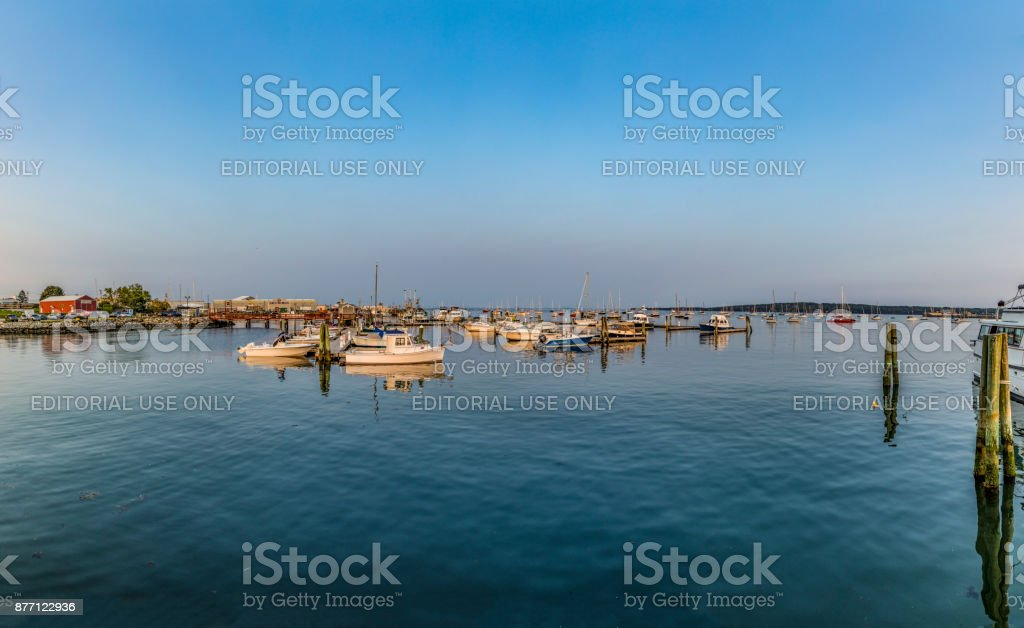 harbor of rockland, Maine with sailing boats stock photo
