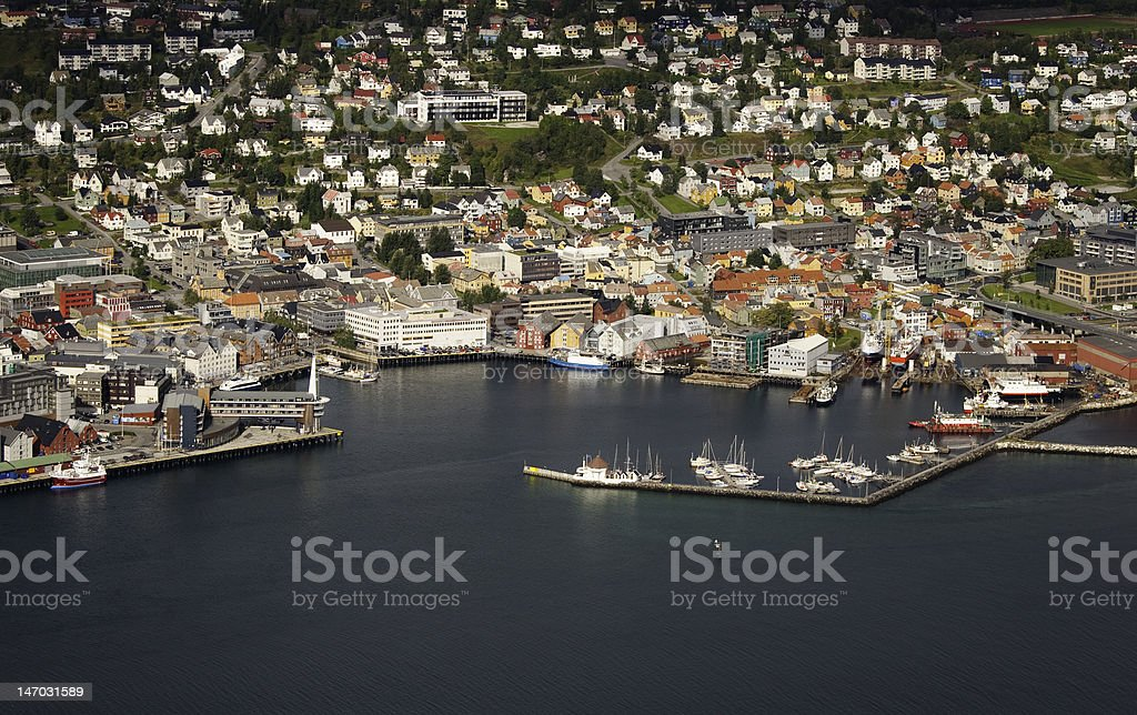 Harbor of Tromso. Norway stock photo