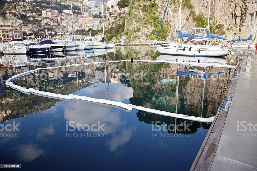 harbor oil spill absorbant boom stock photo