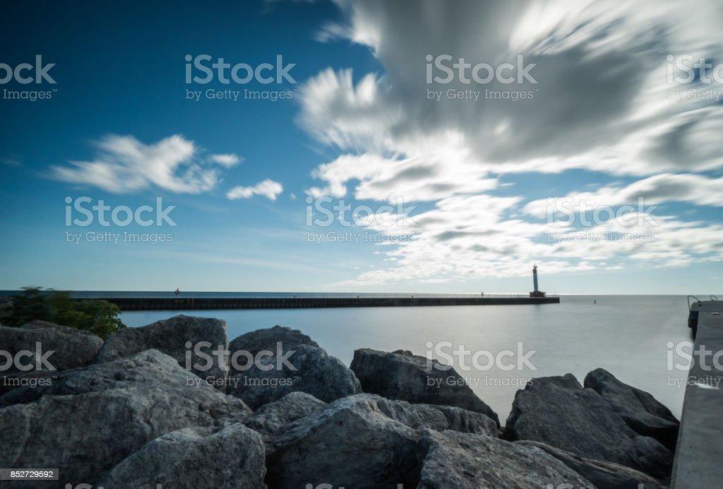 harbor on lake Ontario stock photo