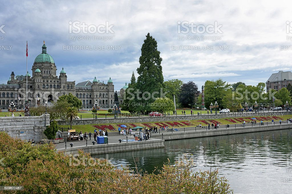 Harbor, park and provincial parliament of British Columbia. stock photo