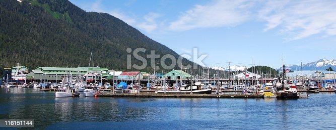 Harbor, Petersburg, Alaska, USA on a sunny summer's day.