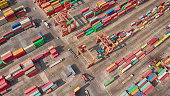 Aerial view of Industrial and Container ship logistic the harbor.
