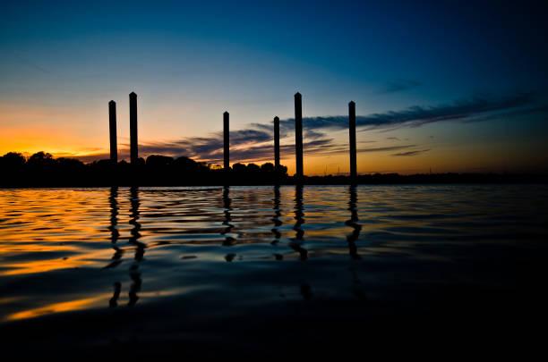 Harbor Pillars Sunset stock photo