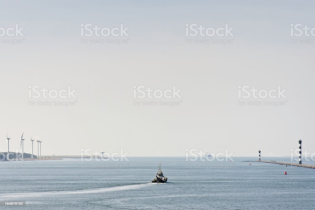 harbor pilot approaching ship royalty-free stock photo