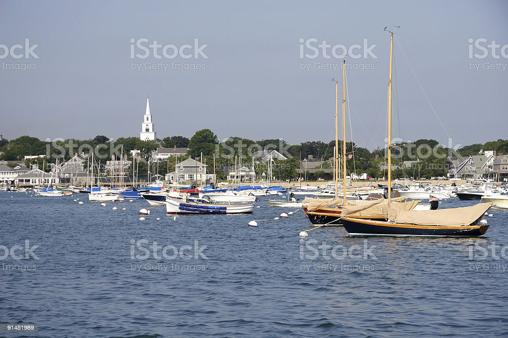 Harbor scene at Nantucket Island Massachusetts royalty-free stock photo