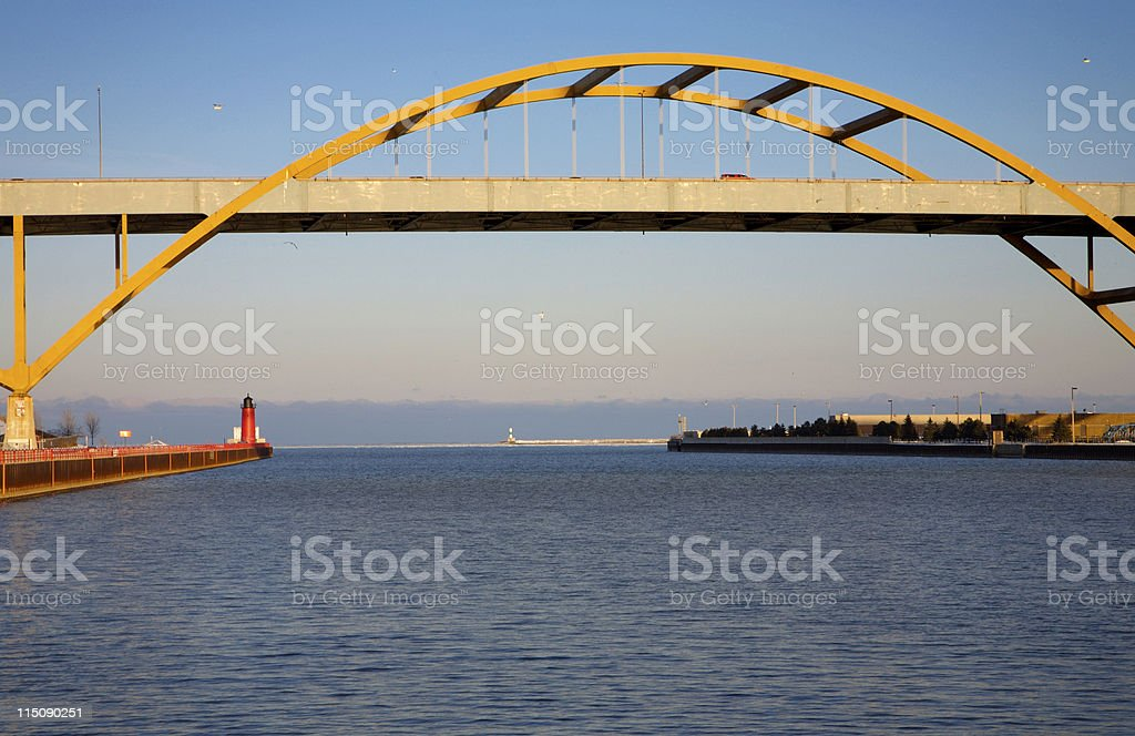 harbor scenes - Lake Michigan Bridge stock photo