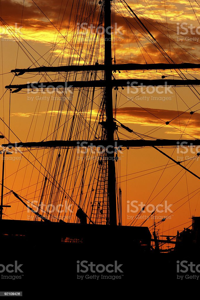 Harbor silhouette royalty-free stock photo