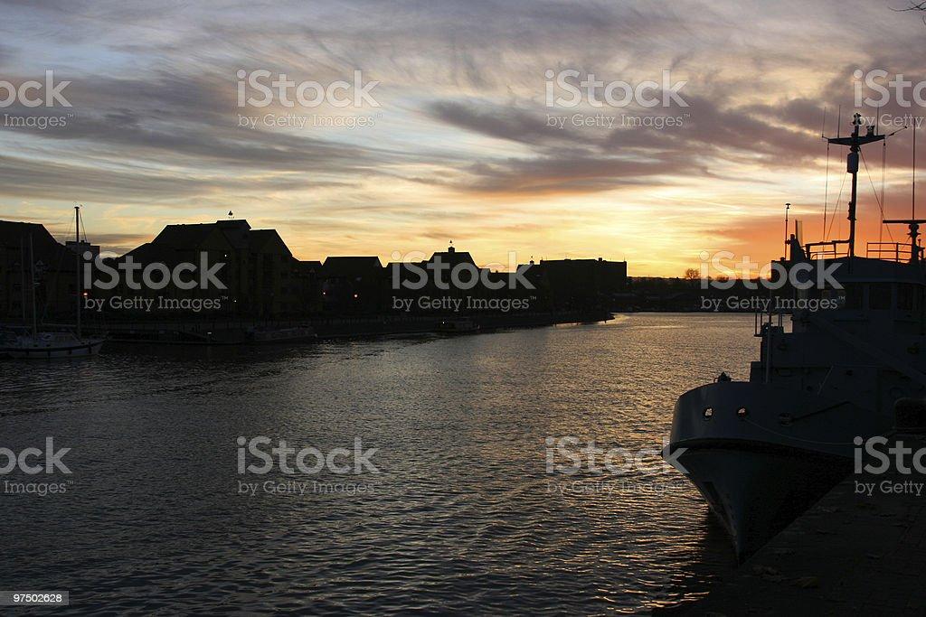 Harbor sunset royalty-free stock photo