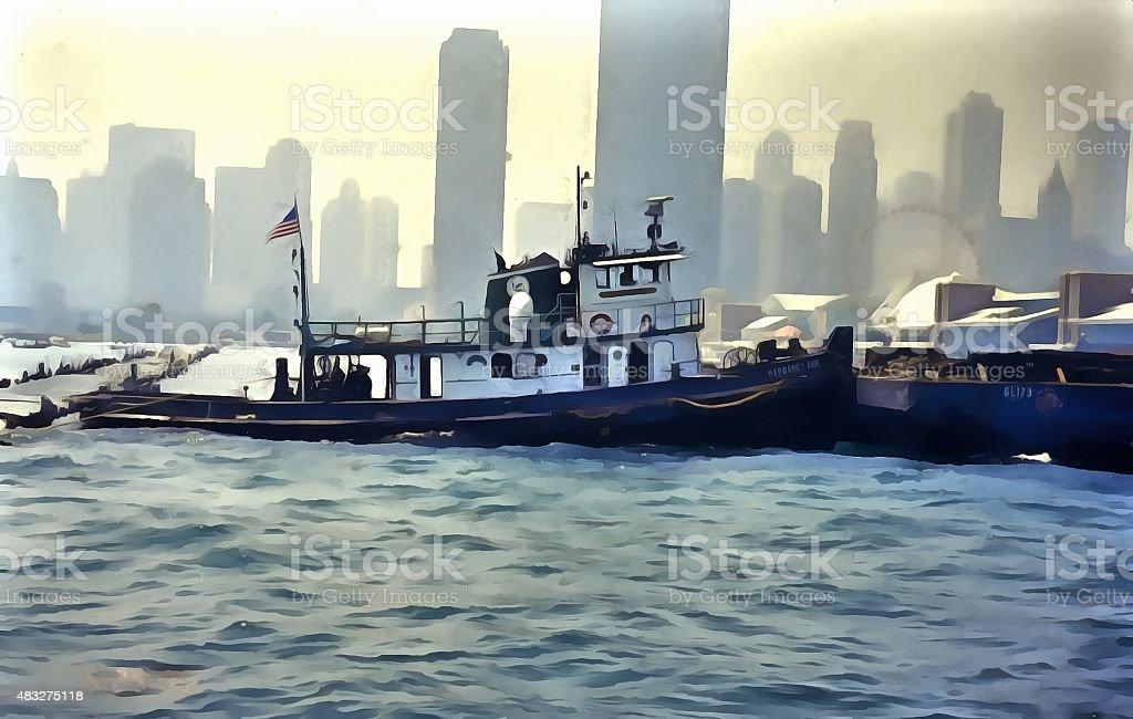 Harbor tugboat stock photo