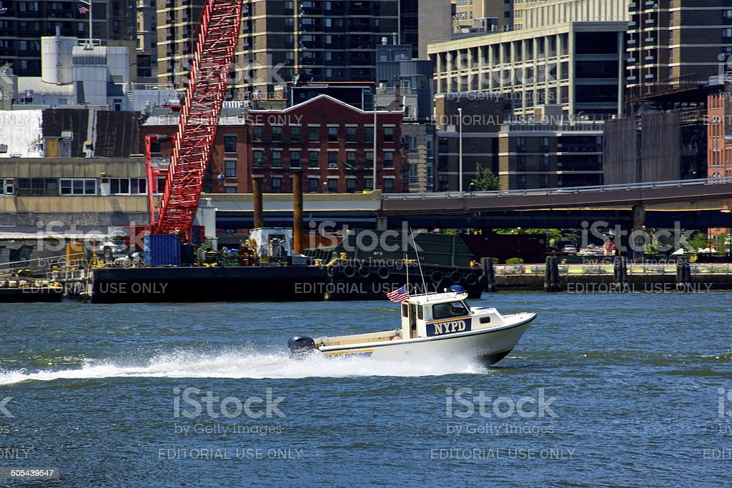 NYPD Harbor Unit Launch Boat, East River, Lower Manhattan, NYC royalty-free stock photo