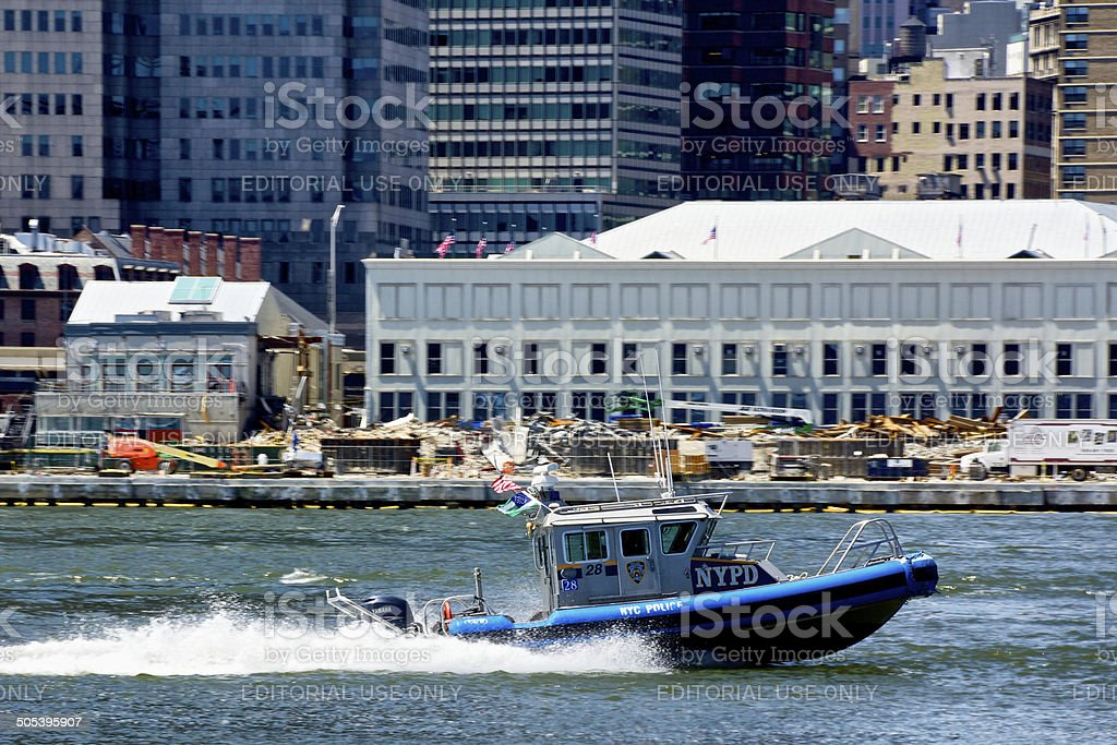 NYPD Harbor Unit Launch No.28, East River, Lower Manhattan, NYC royalty-free stock photo