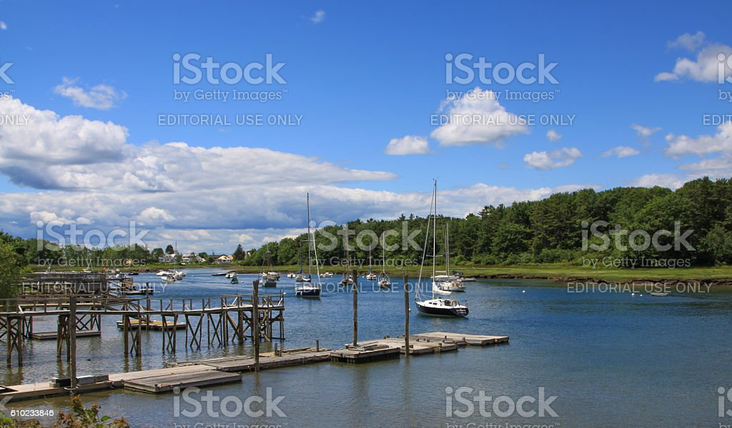 Harbor View, Pier and Moored Sailboats in Kennebunkport, Maine, USA. stock photo