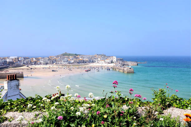 Harbor view, St. Ives, Cornwall, UK. stock photo