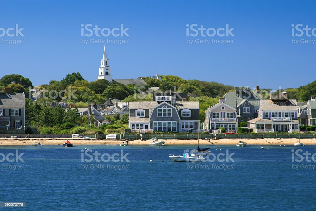Harbor View with Boats and Waterfront Houses, Nantucket Island, Massachusetts. stock photo