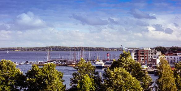 Harbor with boats in Eckernförde Germany