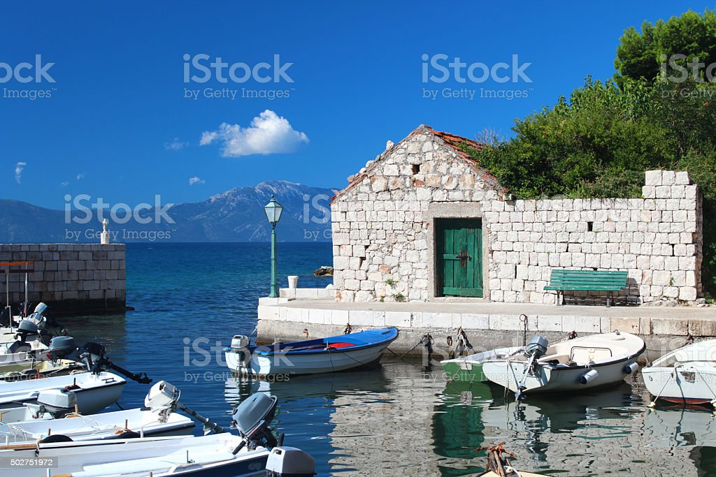 Harbor with boats in Gradac stock photo
