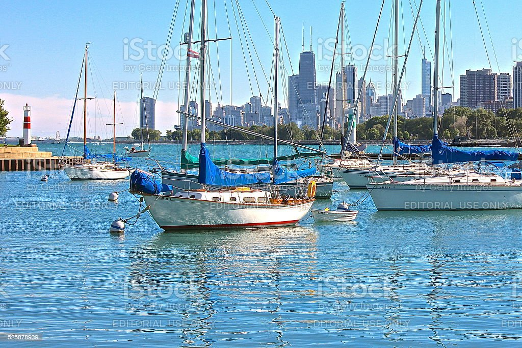 Harbor with Chicago skyline view stock photo