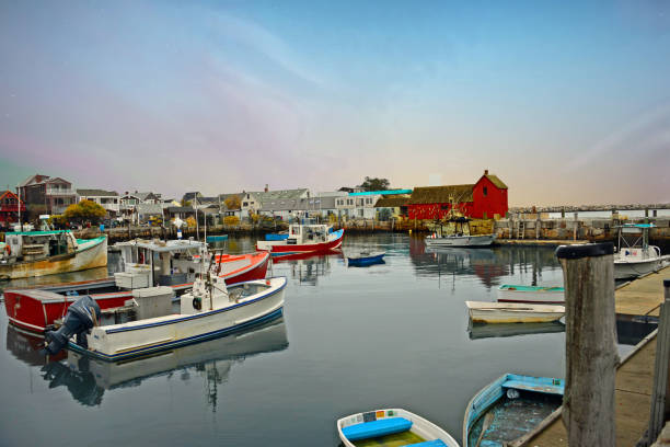 Harbor with fishing boats-Gloucester Massachusetts Harbor with fishing boats-Gloucester Massachusetts gloucester massachusetts stock pictures, royalty-free photos & images